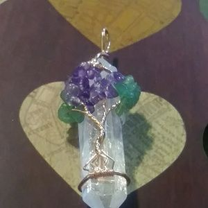 Jewelry - Reiki tree of life crystal rose wire wrapped